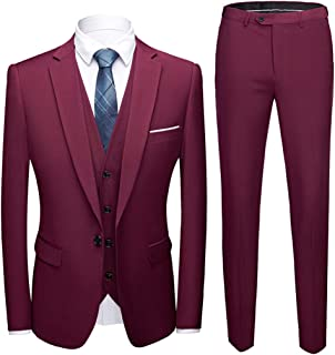 MY'S Men's Suit Slim Fit One Button 3-Piece Suit Blazer Dress Business Wedding Party Jacket Vest & Pants