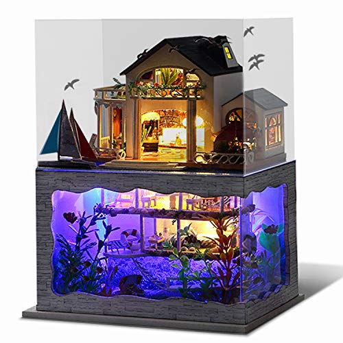 UniHobby DIY Miniature Dollhouse Kit Impression Hawaii with Furniture Dust Proof Wooden Dollhouse Gift