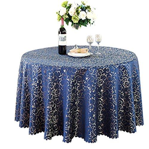 Nappe bleu marine hôtel nappe européenne ronde nappe restaurant table tissu de table carrée riche couleur motif, unique couleur, fort et fort (Size : Round 2.8 meters)