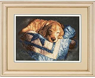 Simplicity Vintage Dimensions Dog 'Snooze' Stamped Cross Stitch Kit, 14'' W x 10'' H