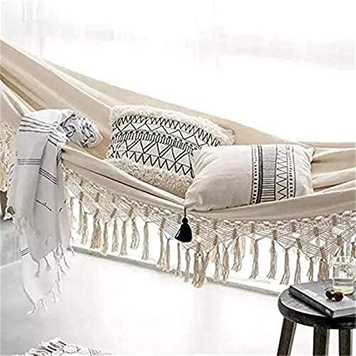 WWJ Hamaca doble de lujo con borla de encaje bohemio, silla oscilante para 2 personas, hamaca para colgar en interiores | 2 x 1,5 m