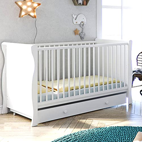Little Acorns Sleigh Cot Easily Converts to Toddler Bed 2 Position Mattress Base with Deluxe 4inch Foam Mattress (White)