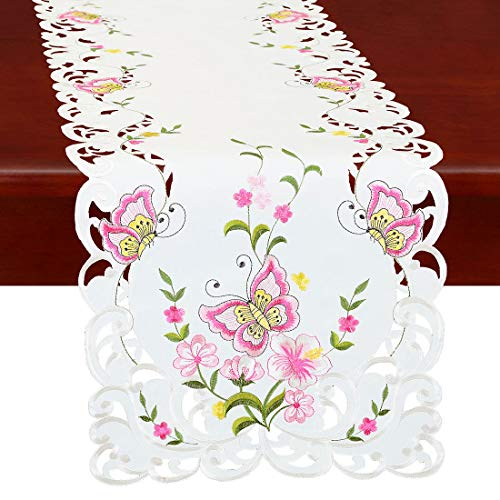 Simhomsen Spring Butterfly and Floral Table Runners, Dresser Scarf (Pink, 14 × 35 Inch)