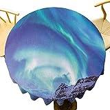 VICWOWONE Mantel de invierno – 150 cm mantel redondo de poliéster Aurora Borealis Kirkjufell Islandia fenómeno natural Northen Medio Ambiente Diseño sin costuras azul mar verde lila