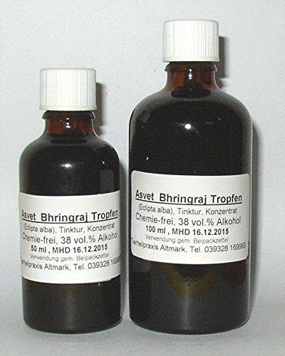 Asvet 50ml Bhringhraj Tropfen, Bhringaraj Extrakt, Eclipta alba (Bio) Konzentrat (GP = EUR 35,80/100ml)