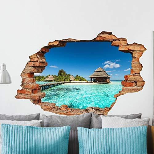 Stickers adhésifs Effet 3D | Sticker Autocollant Bungalows sur île tropicale - Décoration murale trompe l'œil Chambre et Salon - 60 x 90 cm