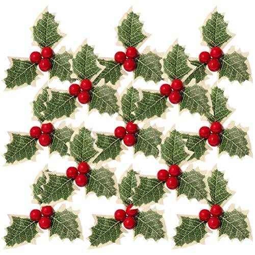 Tixiyu - 30 bacche di agrifoglio artificiali con foglie verdi, foglie verdi di agrifoglio per matrimoni e decorazioni natalizie, decorazioni per torte, decorazioni per feste, frutta rossa artificiale