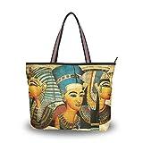 WowPrint - Bolso de mano con pintura egipcia antigua para mujer, gran capacidad para el trabajo, escuela, viajes, compras, playa