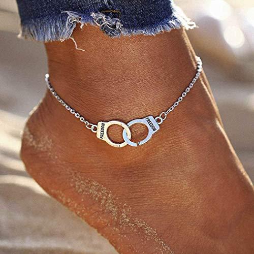 Chaîne de pied punk chaîne de cheville en argent bracelet de cheville yean menottes pour femmes et filles