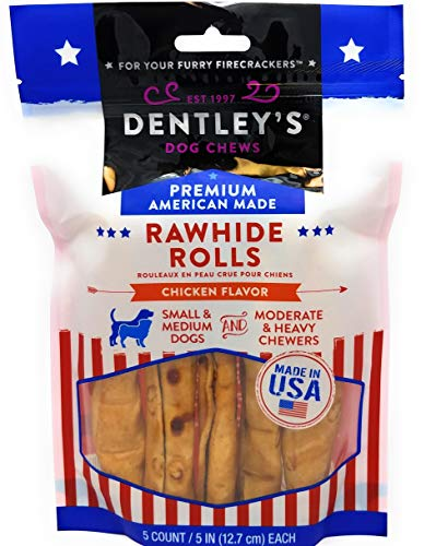 DENTLEY'S Rawhide Rolls Chicken Flavor Small& Mediun Dogs (Small & Medium)