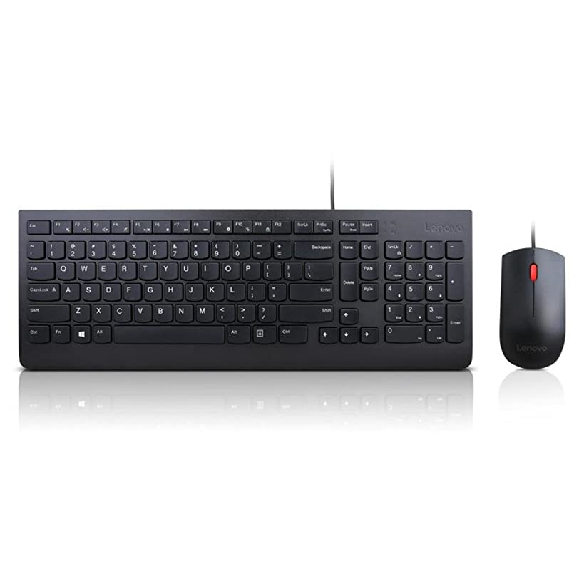 Lenovo Essential Wired Combo - Wired Keyboard and Mouse Set - USB - Black