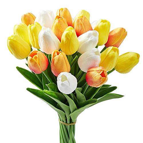 24 piezas multicolor artificial tulipán látex verdadero toque para ramos de boda, fiesta nupcial baby shower decoración del hogar