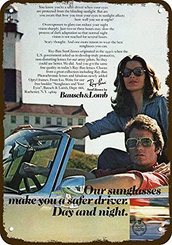 1974 Ray Ban Gafas de sol de estilo vintage réplica de metal signo no real gafas de sol! 20 x 30 cm, letrero de casa de 20 x 30 cm, placa de metal