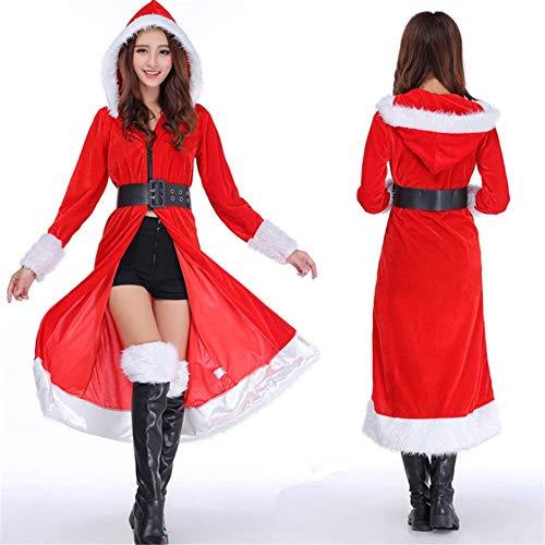 LLVV kerstkostuum met mouwen party kleding sexy kerstman kostuum mantel voor volwassenen vrouwen rood