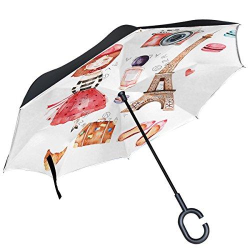 alaza París Torre Eiffel cámara de Macarons Zapatos niña Inverted Paraguas Paraguas...
