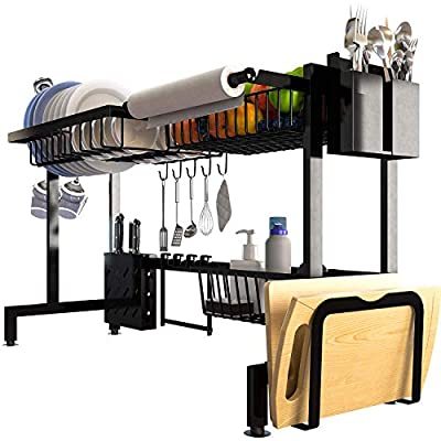 """QiMH Over Sink Dish Drying Rack(32.9""""), Kitchen Stainless Steel Dish Draining Counter and Organizer, Multifunctional Storage Shelf Utensils Holder(34""""(L) x12""""(W) x20.5""""(H)) by"""