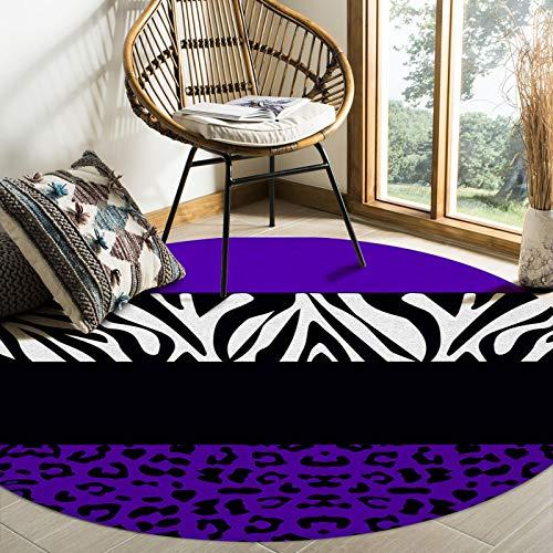 Savannan Round Area Rugs, Leopard Zebra Texture Animal Purple Black Anti-Skid Accent Area Floor Carpet Mat for Kids Room Nursery Office Bedside Living Room, 4ft Diameter