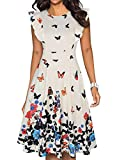 IHOT Women's Vintage Ruffle Floral Flared A Line Swing Casual Cocktail Party Dresses with Pockets