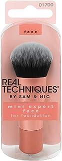 Real Techniques Mini Expert Face Brush - Mini Brocha para Base de Maquillaje, Naranja