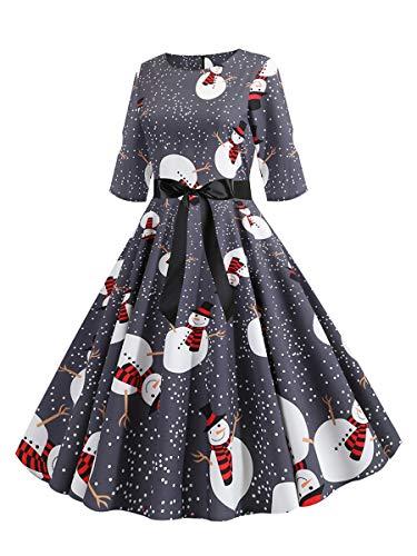 CINDYLOVER Vestidos de la Vendimia de la Impresión Cuello Redondo Manga Larga del Navidad Vestidos de Fiesta...