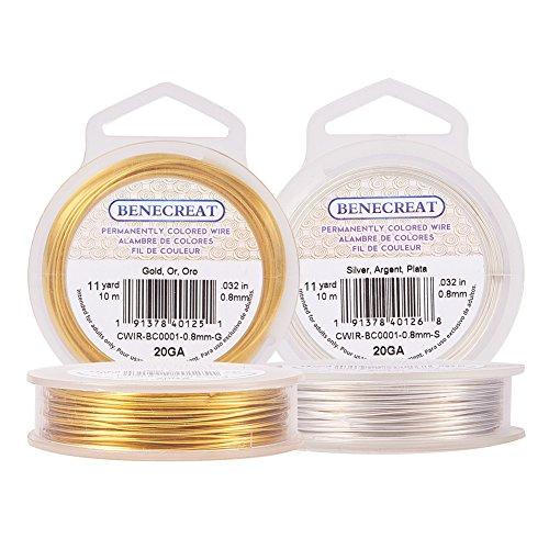 BENECREAT 20m 0.8mm Alambre de Cobre Cable Metal Alambre de Joyería para Manualidad Dorado y Plateado Calibre 20, 10m/Rollo, 2 Rollos