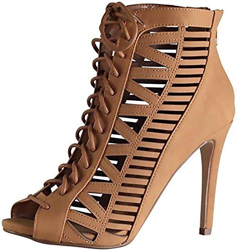 Beston BA83 Women's Back Zipper Front Lace Up Stiletto Heel Cut Out Dress Shoes MVE Shoes , mve shoes tinley tan size 8