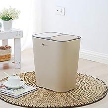 MU Kreatywny skandynawski kosz na śmieci, prostokątny pojemnik na śmieci, typ push, podwójna pokrywa może być klasyfikowan...