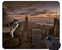 マウスパッド滑り止め、冬の狼ハウリングマウスパッド