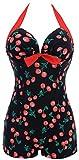 PANOZON Mujer Vestido de Bañador Traje de Baño una Pieza para Playa y Mar Boyshorts (XXXX-Large, Cereza)