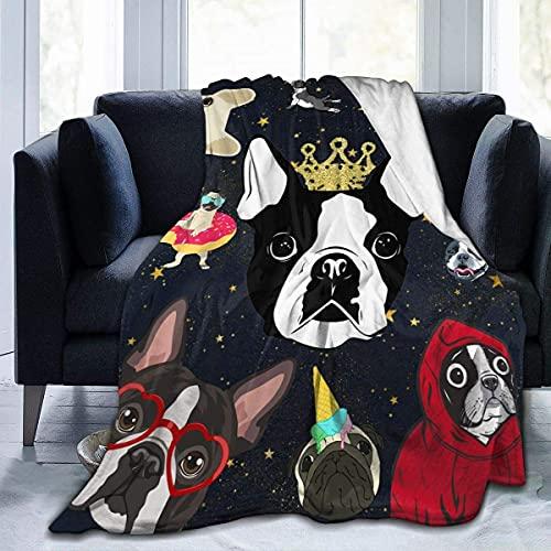 Boston Bull Terrier - Manta para cachorro, suave, cómoda, fina, cálida, impresión de franela, antibolitas, 4 estaciones, universal, para adultos, niños, 150 x 150 cm, para adultos