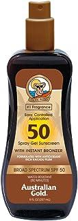 Australian Gold Spray Gel Sunscreen with Instant Bronzer SPF 50, 8 Ounce | Moisturize & Hydrate Skin | Broad Spectrum | Wa...