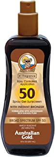 Australian Gold Spray Gel Sunscreen with Instant Bronzer SPF 50, 8 Ounce | Moisturize..