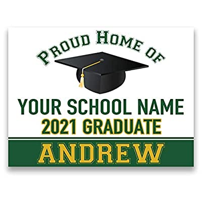Congratulations Class of 2021 Graduate Personalized Yard Sign with Metal Stake, Custom Graduation Party Personalized Lawn Sign