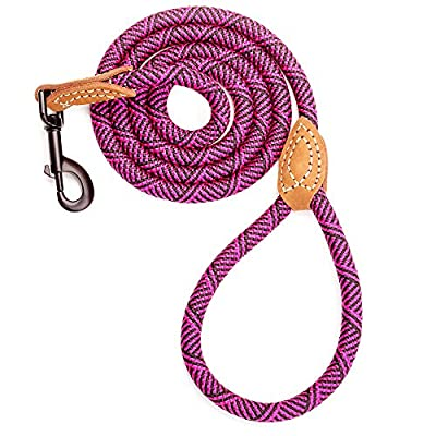 Mile High Life Leather Tailor Reinforce Handle Mountain Climbing Dog Rope Leash with Heavy Duty Metal Sturdy Clasp (4/5/6 FEET)