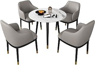 Silla combinada Cocina Comedor Sillas,Negociar Balcón Mármol Pequeña Mesa Redonda con Pies de Metal Silla de PU Combinación Conjunto de 5 Piezas (Color : Gray)