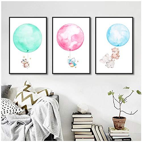 Posters en prints Schattige olifant en roze ballon Print Canvas schilderij Foto aan de muur Dier Kinderkamer Decoratie -20x30cm (7.8