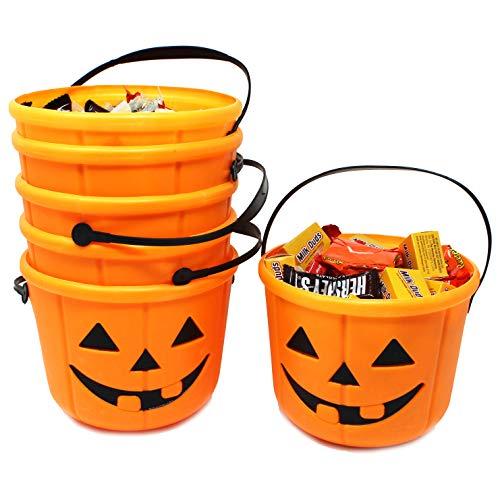 JOYIN Halloween Trick or Treat Pumpkin Bucket Jack O Lantern Candy Basket Halloween Party Supplies Pumpkin Pails with Handle (6 Pack)