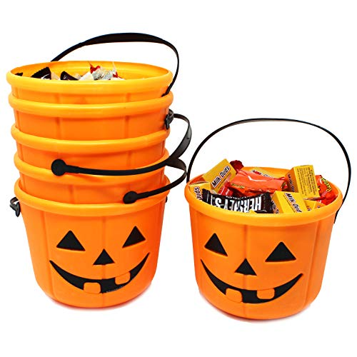 JOYIN Halloween Trick or Treat Pumpkin Bucket Jack O Lantern Candy Basket Halloween Party Supplies Pumpkin Pails with Handle (6 Pack)