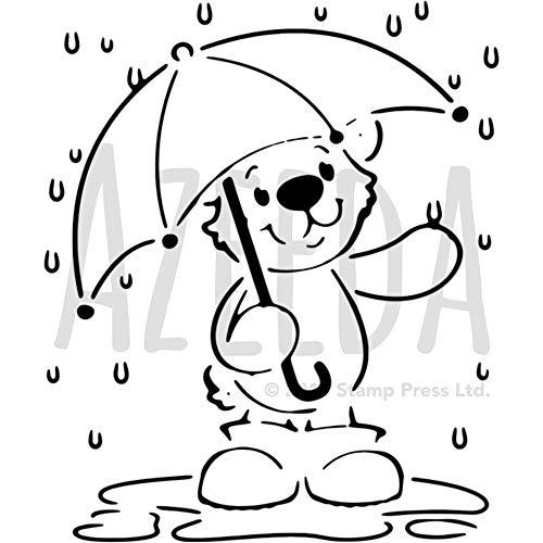 A4 'Teddybär mit Regenschirm' Wandschablone / Vorlage (WS00004807)