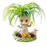 Maceta de flores para bebé de Groot, maceta de plantas pequeñas, decoración creativa de acuario de decoración de balcón, con base de maceta (girasol)