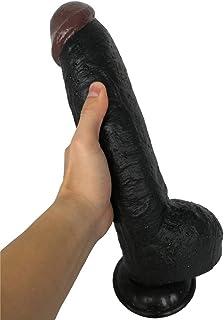 ZBZYXA Manual Waterproof Large and Full Simulation Black Penis Soft Fake Penis Sucker Hands-Free Toy