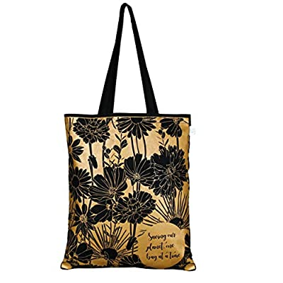 EcoRight Canvas Tote bag for Women, Reusable Grocery Bag, Cute Bags, Printed Cotton Shopping bag, Beach bags, Gift bags, Bridesmaids Tote Bags, Book Bag   Flowers   0102A05