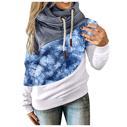 MINYING - Sudadera con capucha para mujer, talla grande, manga larga, otoo e invierno, informal, clida, de algodn con contraste slido, para mujer 1006-blue XXX-Large