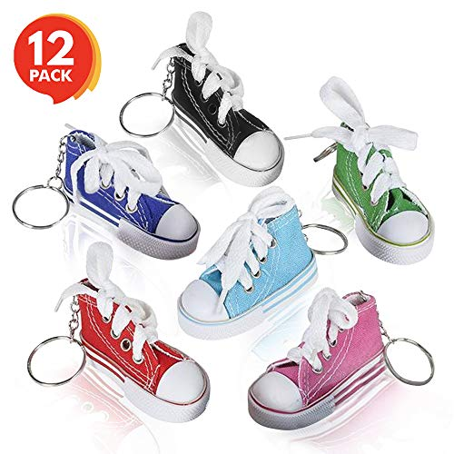 ArtCreativity Mini Canvas Sneaker Keychains for Kids and Adults - Set of 12 - 3 Inch Tennis Shoe Key Chains - Cool Birthday Party Favors, Goody Bag Fillers, Prize for Boys and Girls, Fundraising Item