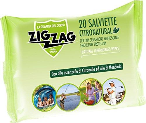 Zig Zag, Repellente, Antizanzare, Salviette Citronatural, al profumo di citronella, contiene olii essenziali di citronella e geranio, contiene 20 salviette