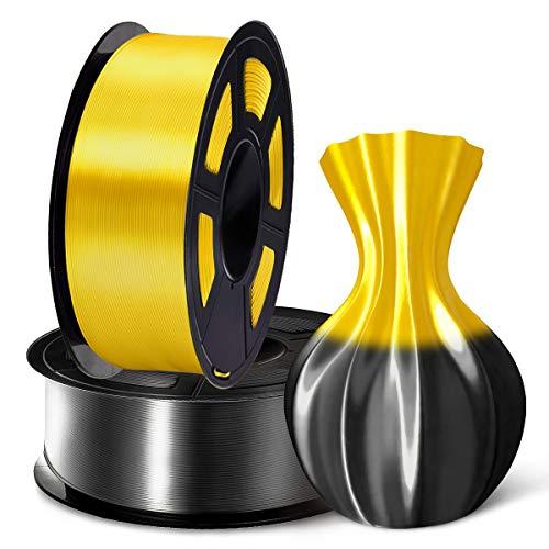 SUNLU 3D Filament 1.75, Shiny Silk PLA Filament 1.75mm, 2KG PLA Filament 0.02mm for 3D Printer 3D Pens, Black + Yellow