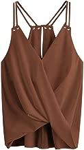 mimi forever Summer Camis Tank Top Women's Sleeveless V-Neck,Coffee,L,Uni