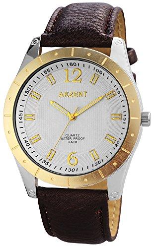 Akzent Herren Analog Quarz Uhr mit Leder Armband SS7711100023