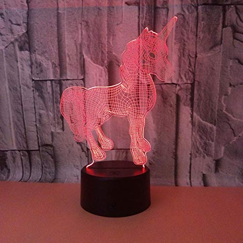 3D Christmas Gift Night Light Unicorn Table Lamp with Remote Control Kids Bedroom Decoration Creative Lighting for Kids