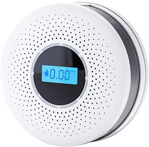 HYGLPXD Rauch- Kohlenmonoxid Melder 10-Jahres-Rauch- und CO-Alarm, mit LCD Anzeige und Prüftaste, Ruhiges Design, Batteriebetrieb